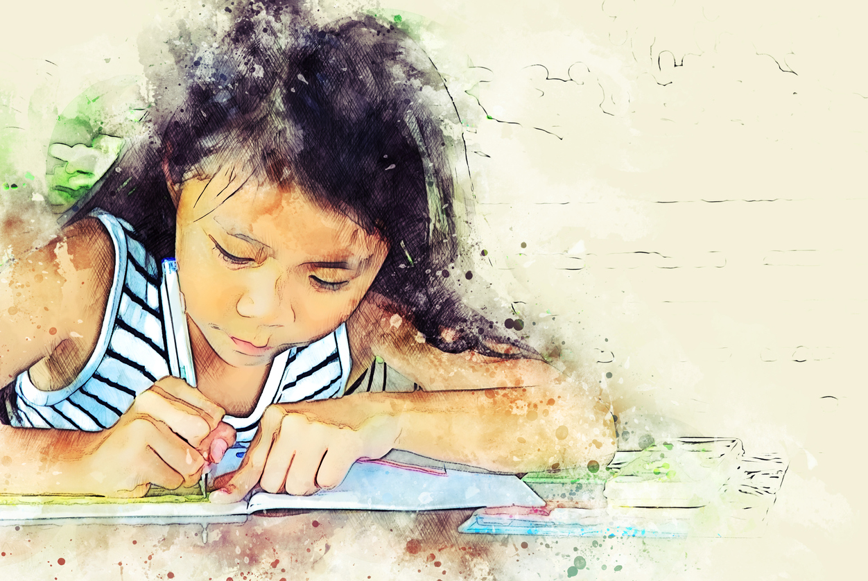 Abstract Beautiful Girl Kid Writing On Book On Watercolor Illustration Painting Background.